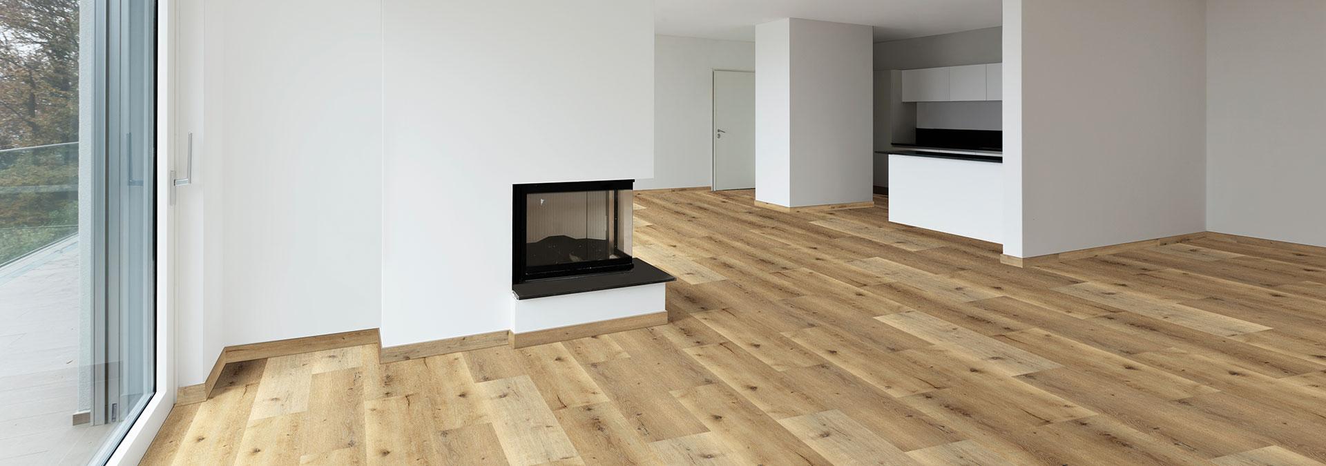Designboden Eiche Trentino im Wohnzimmer